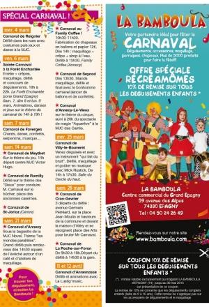 Programme des carnavals 2015 autour d'Annecy !